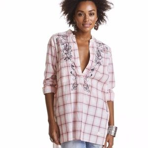 Odd Molly Embroidered Plaid Howdy Tunic Top Blouse
